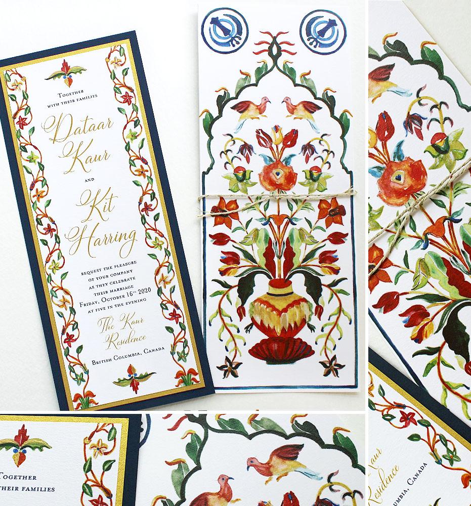 Watercolor Pattern Wedding Invitations