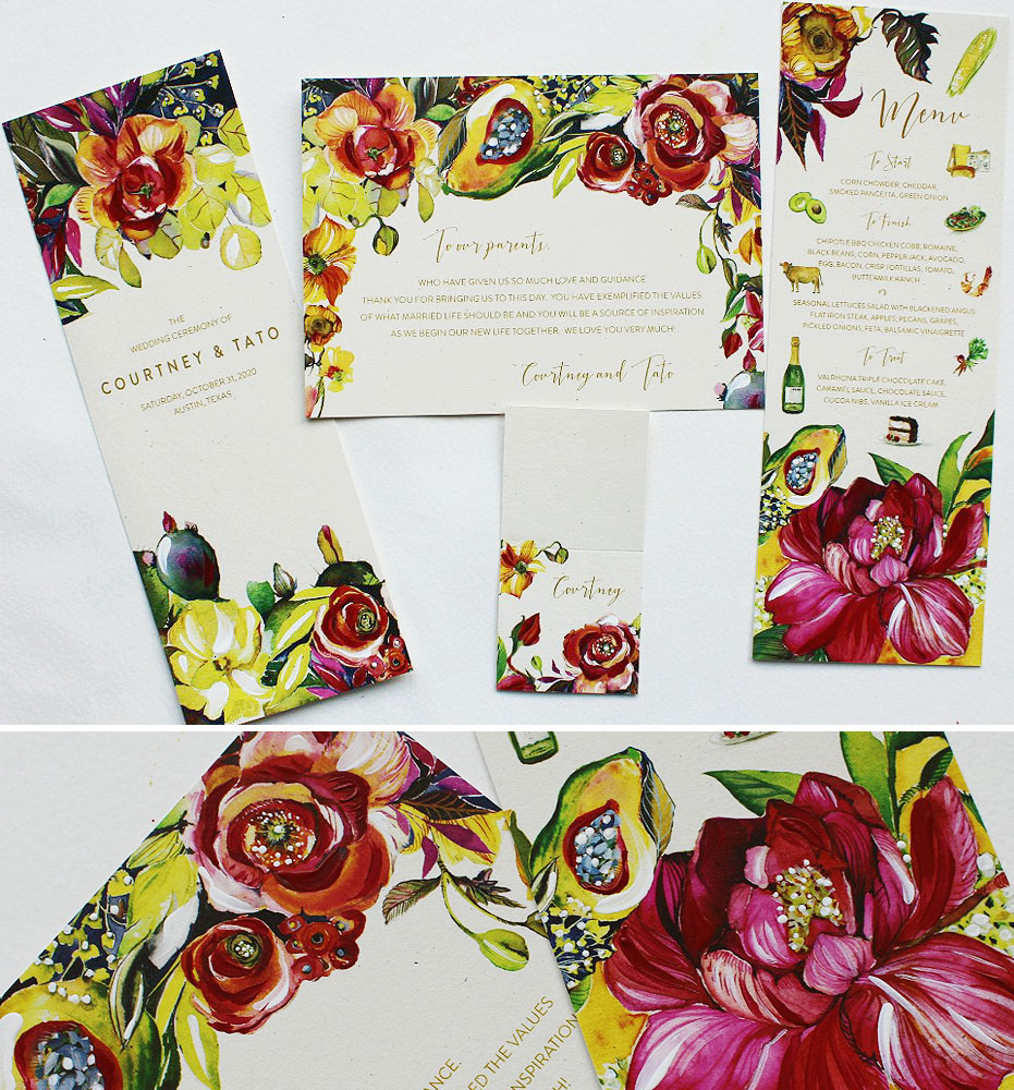 Bold Floral Wedding Day Accessories