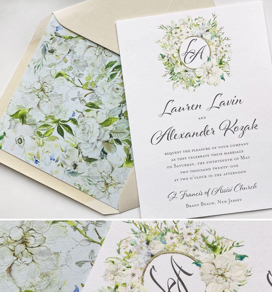 Watercolor Monogram Crest Wedding Stationery
