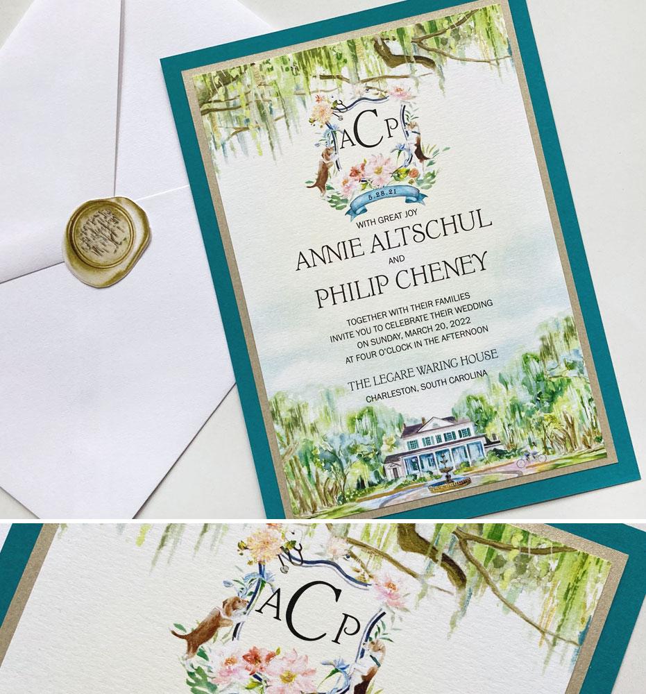 Custom Wedding Crest Invitations