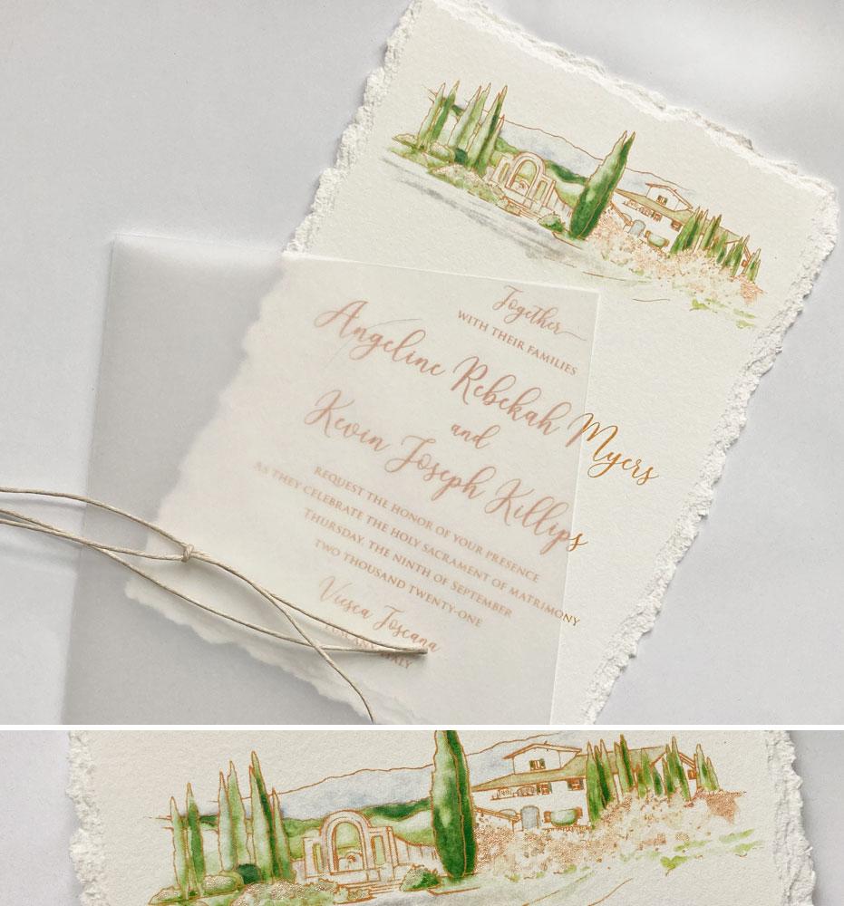 Hand Painted Italy Wedding Invitations