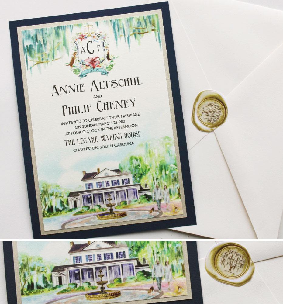 Watercolor Crest and Venue Wedding Invites
