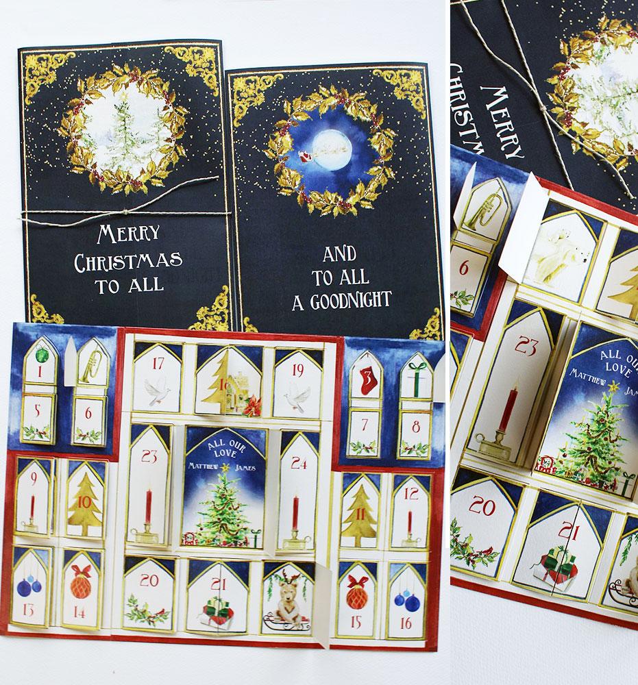 Watercolor Advent Calendar Christmas Card