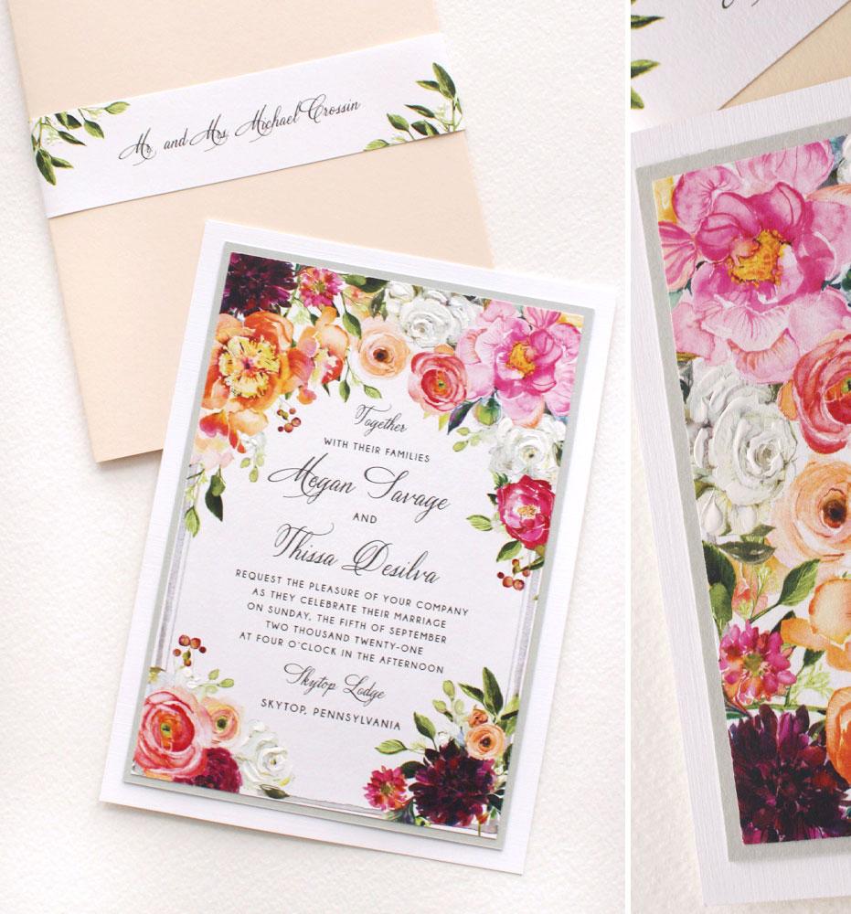 September Watercolor Floral Wedding Invitations