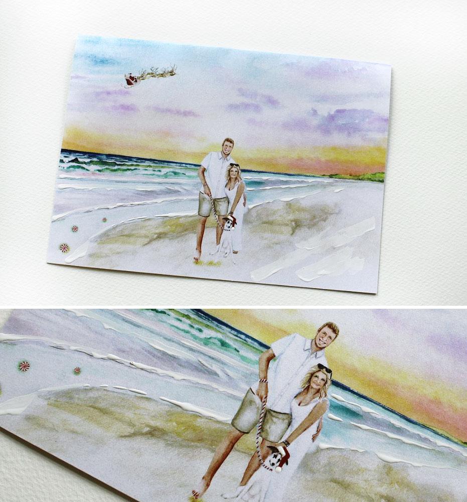 Custom Portrait Watercolor Christmas Cards