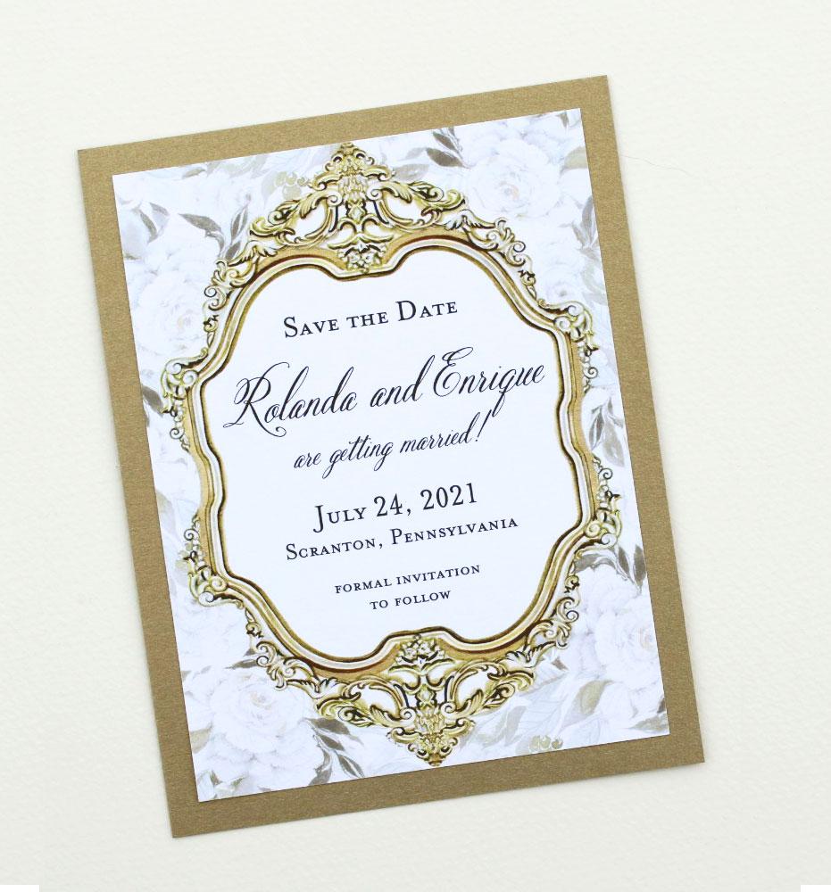 Gold Frame Wedding Stationery