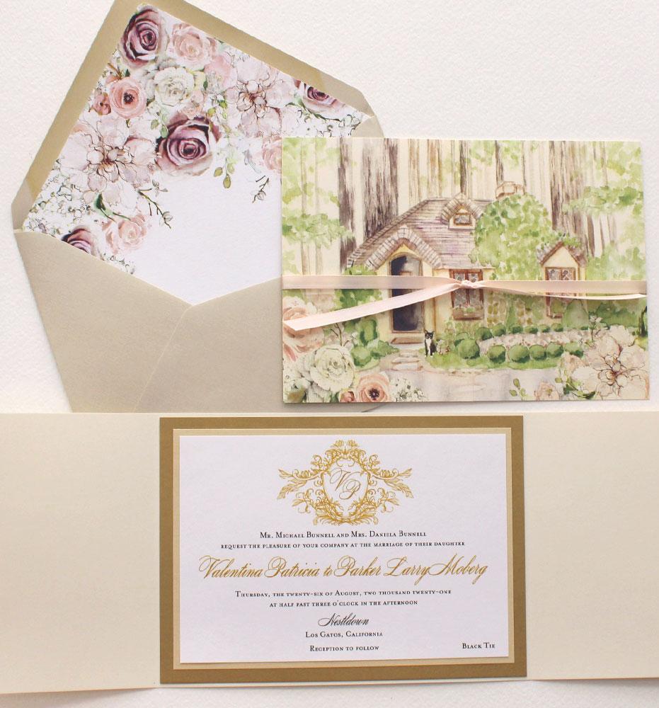 Watercolor Nestldown Wedding Invitations