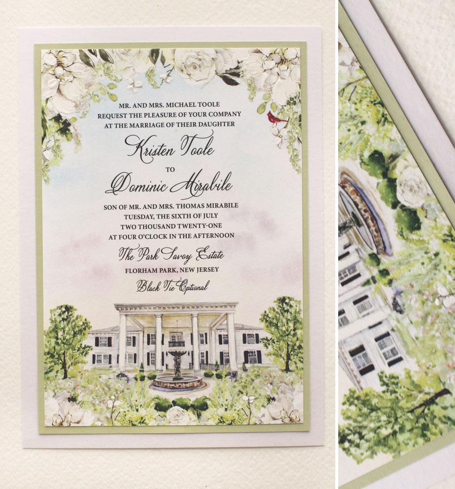 Watercolor Park Savoy Estate Wedding Invitations