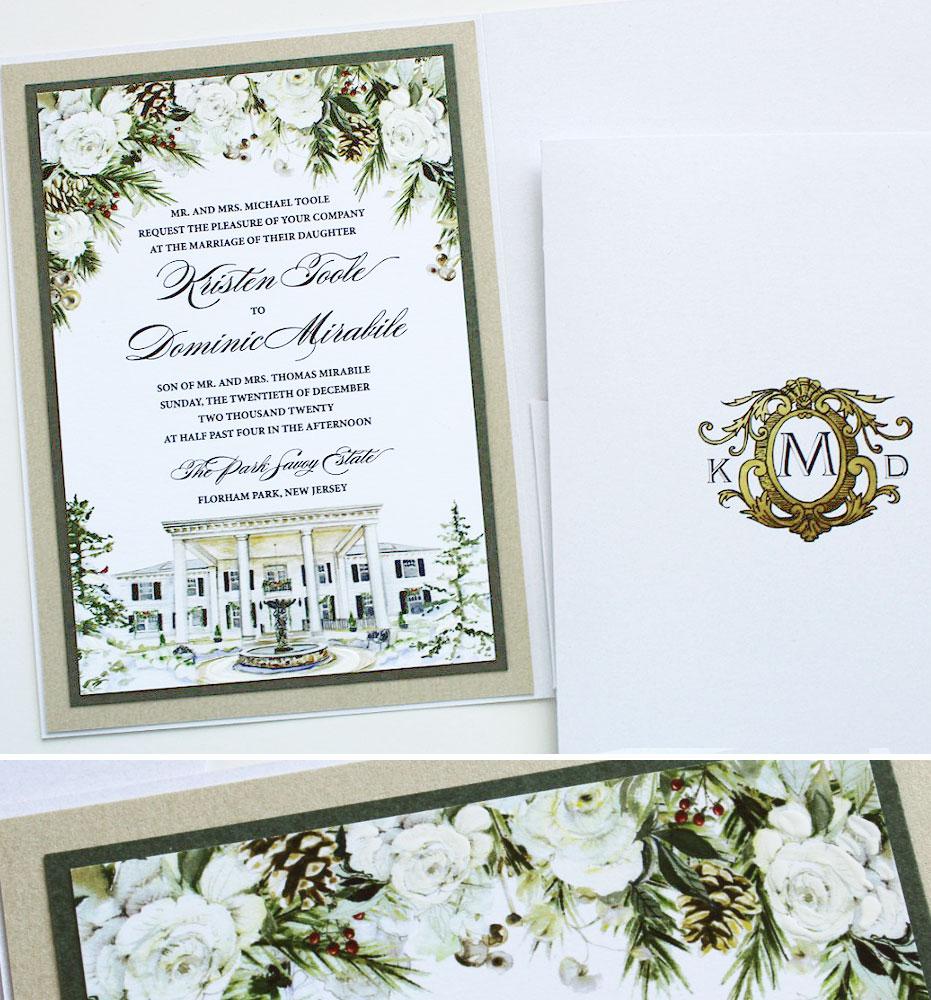 White Floral Winter Wedding Invitations