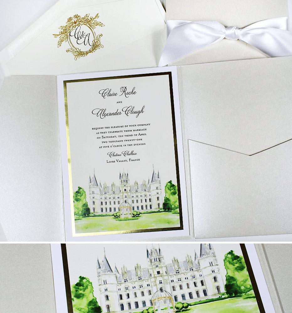 Watercolor Chateau Challain Wedding Invitations