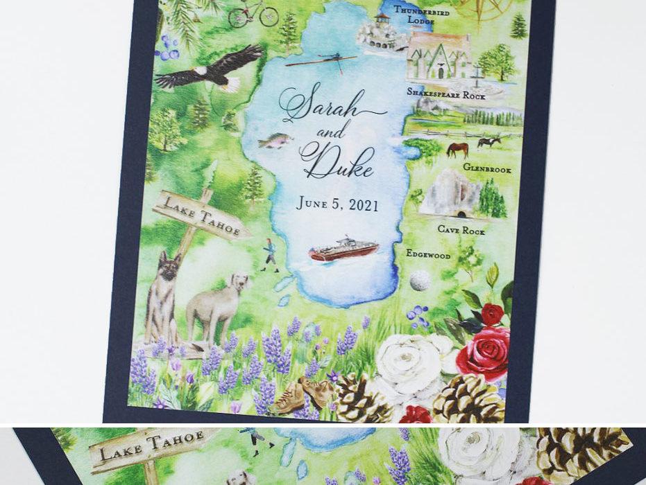 Watercolor Lake Tahoe Wedding Save the Date