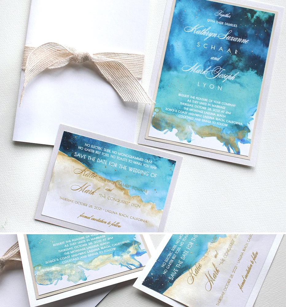 Abstract Watercolor Wedding Invitations