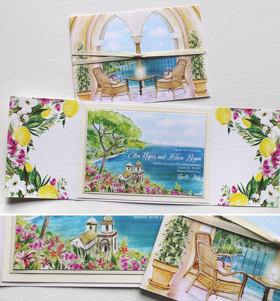 Watercolor Ravello Wedding Invitations