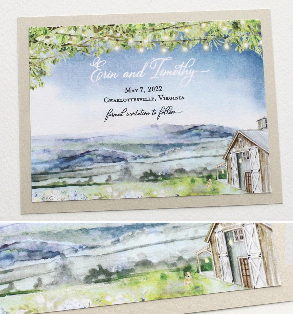 Pippin Hill Landscape Wedding Stationery