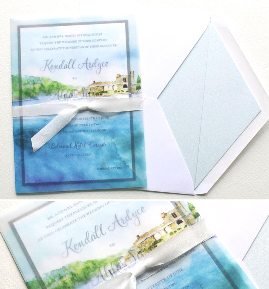 Watercolor Italy Wedding Invitations