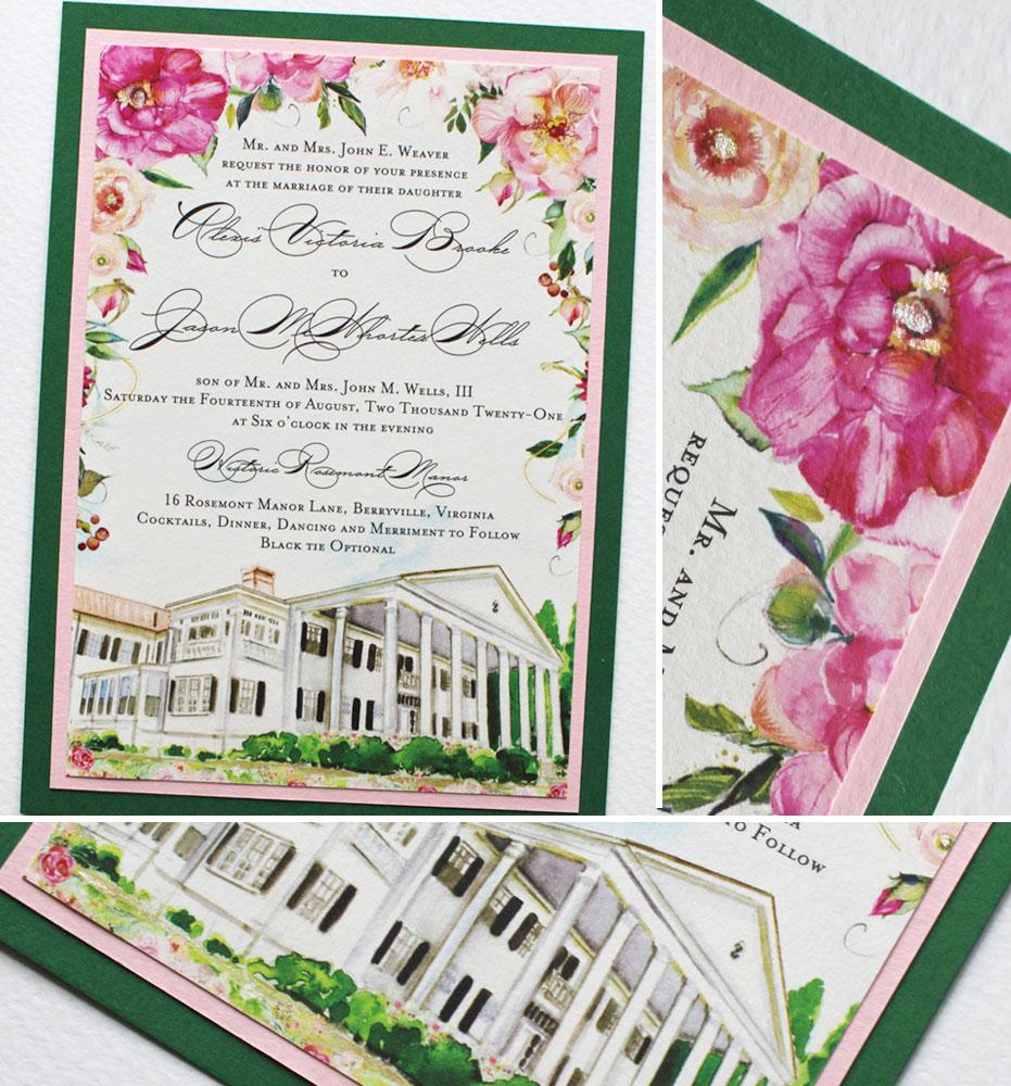 Watercolor Custom Venue Illustration and Floral Wedding Invitation