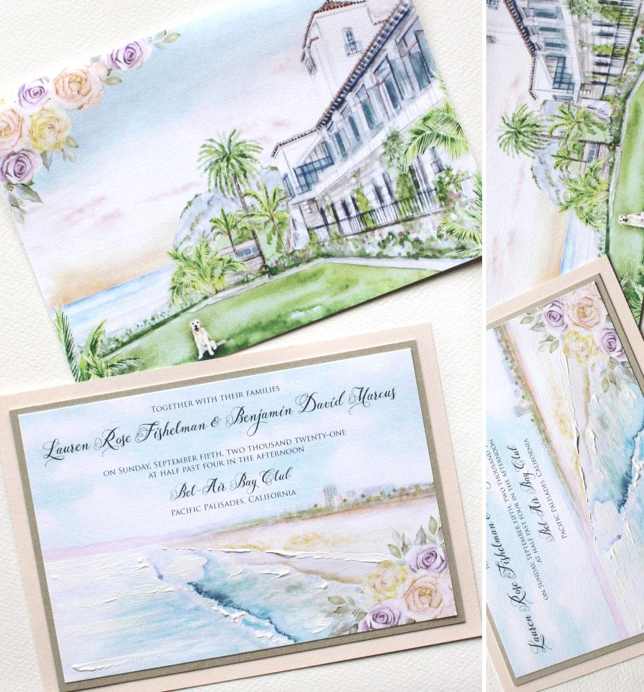 California Watercolor Wedding Invitations
