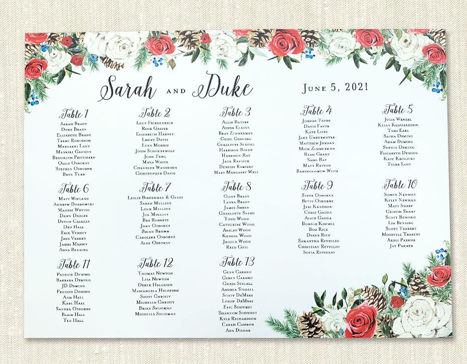 Custom Wedding Seating Plan