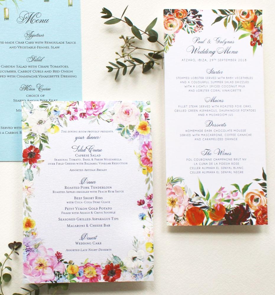 Custom Watercolor Wedding Menus