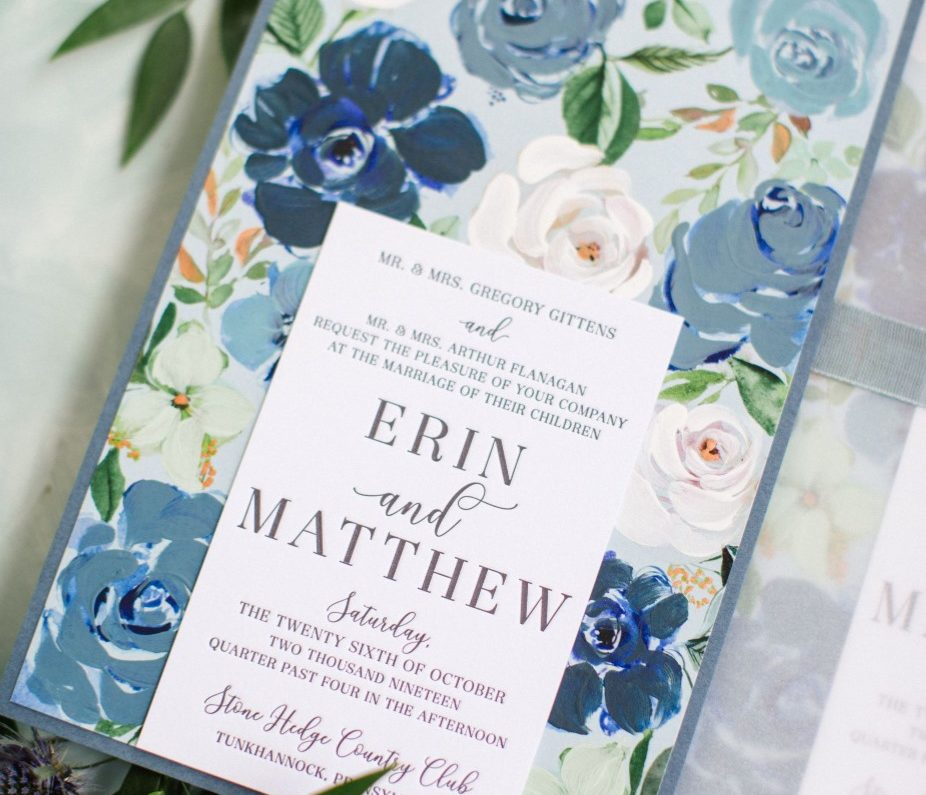 Hand Painted Blue Floral Wedding Invitations