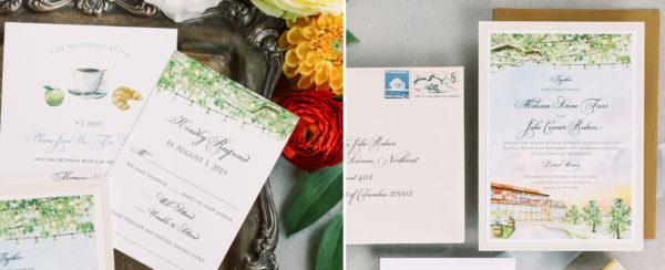 Watercolor Venue Wedding Invitations