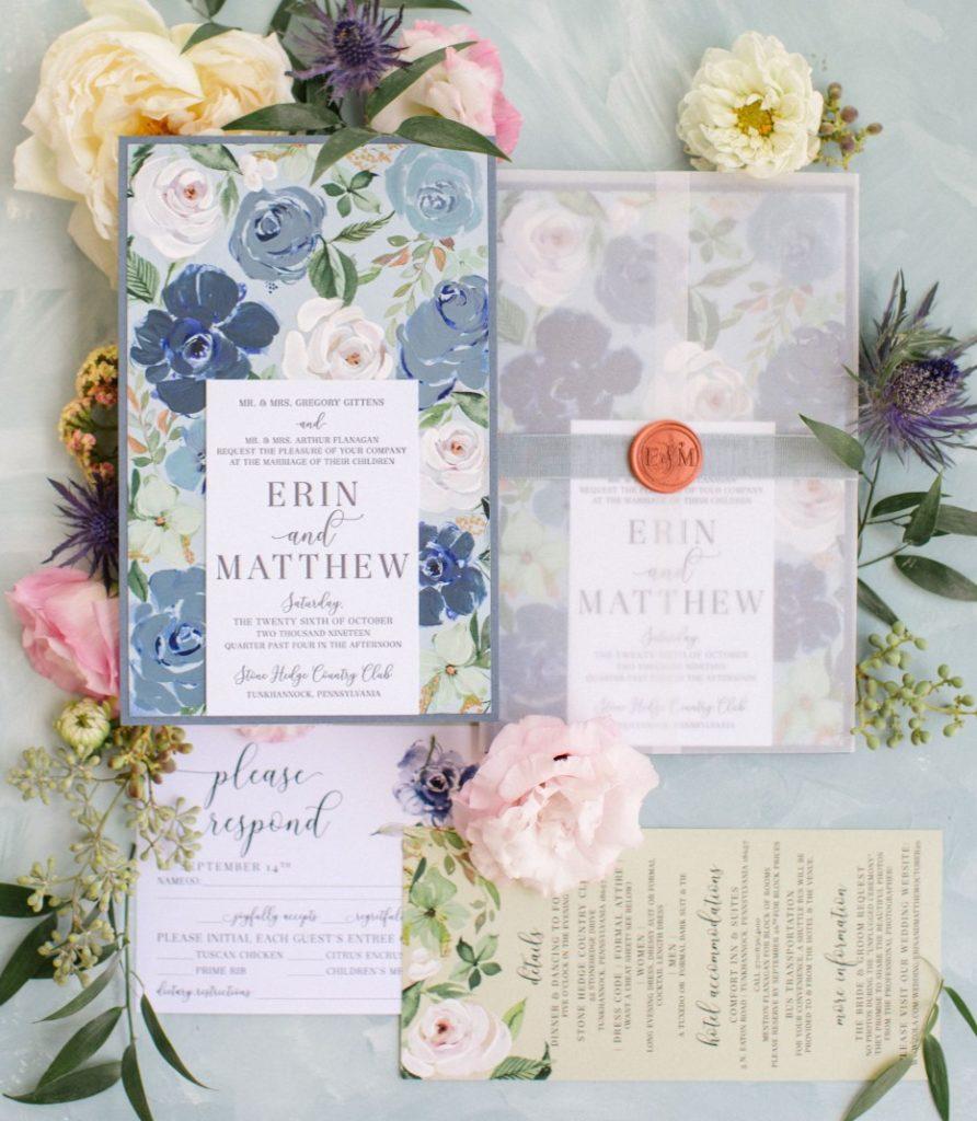 Blue Floral Wedding Stationery