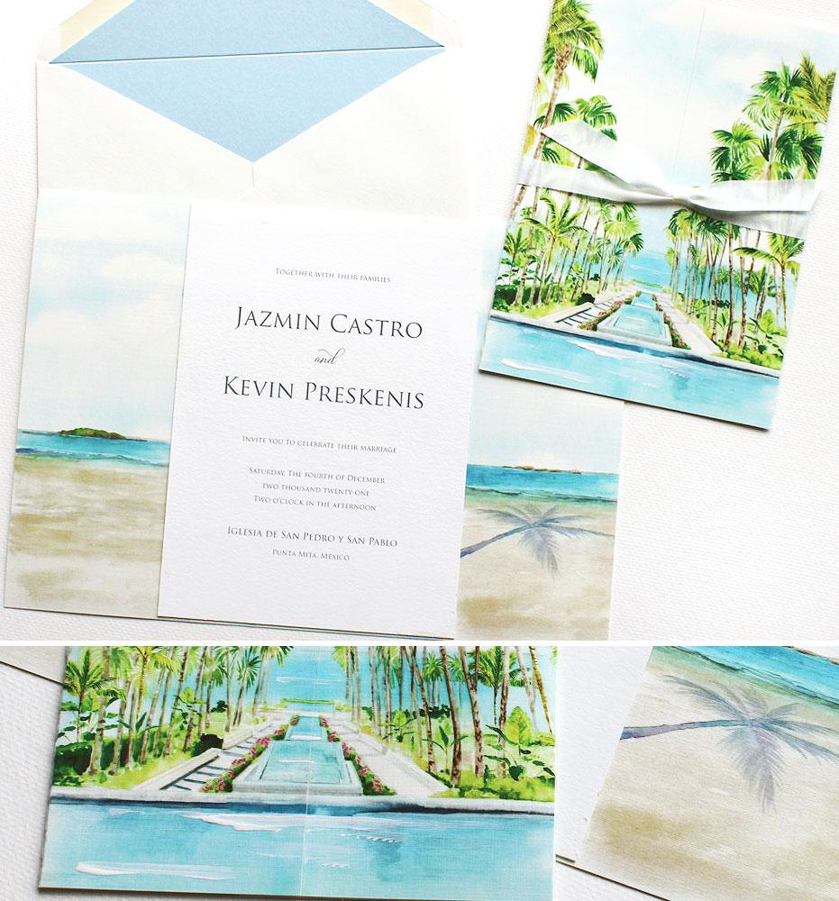 Mexico Watercolor Wedding Invitations