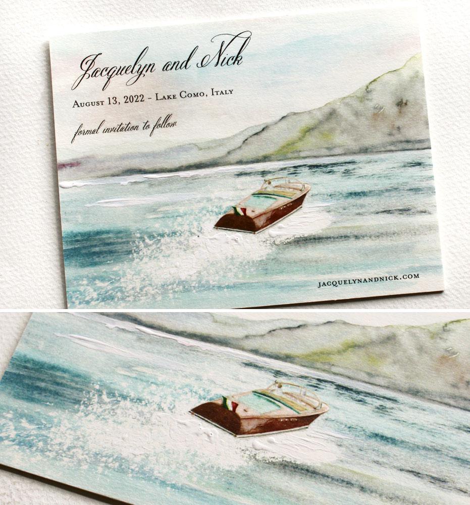 Custom Illustrated Lake Como Wedding Save the Date